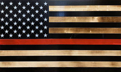 Red Line Black & Burnt Concealment Flag