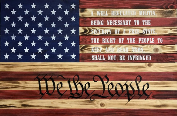Red, Natural Burnt & Blue 2nd Amendment w/ We the people specialty flag - ProtectYOURshelves