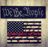 Distressed Thin Blue / Green / Red Line Concealment Flag - ProtectYOURshelves