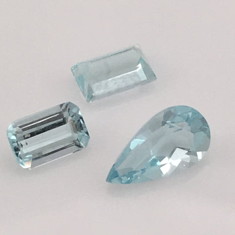2 carat 3-piece Colorado Aquamarine Gemstone Set - Colonial Gems