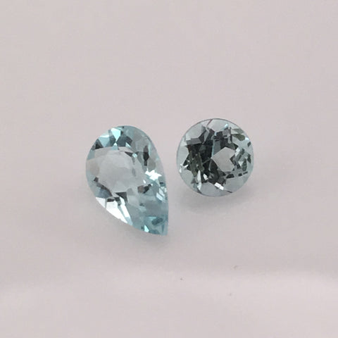 1.3 carat  2-piece Afghan Aquamarine Gemstone Set - Colonial Gems