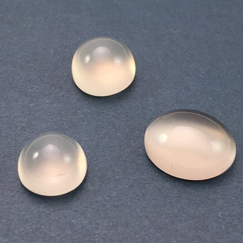 8.6 carat set White Moonstone Cabochons - Colonial Gems
