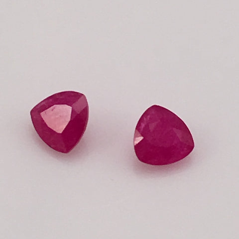 2.1 carat set of tri cut Cambodian Rubies - Colonial Gems