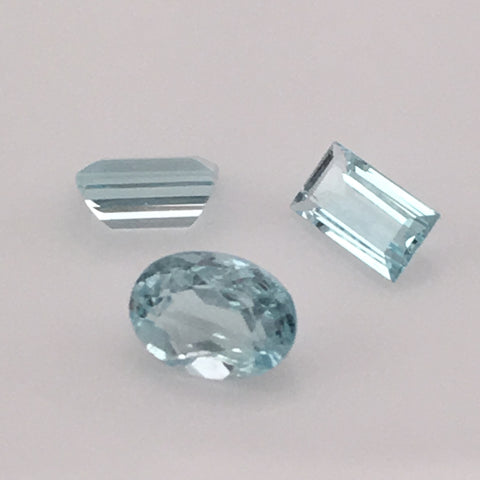 1.7 carat 3-piece Colorado Aquamarine Gemstone Set - Colonial Gems