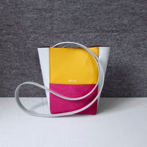 Mini Tote in yellow, grey and pink