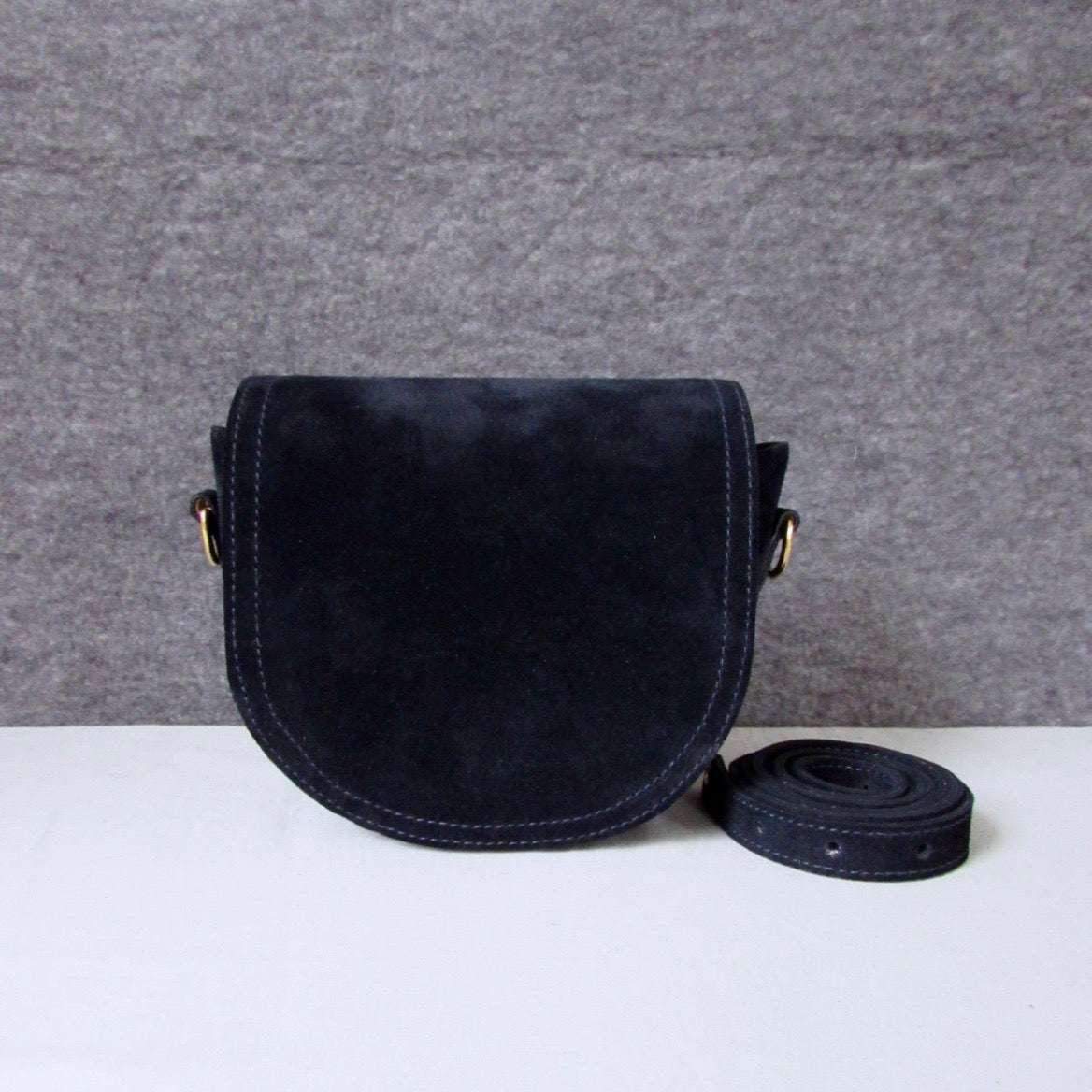 Mini Saddle in navy suede