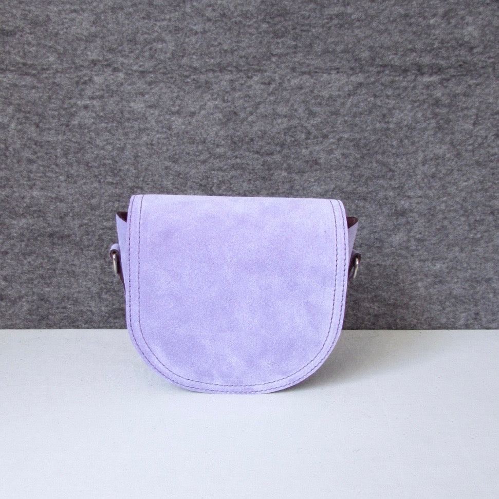 Mini Saddle Clutch in lavender suede
