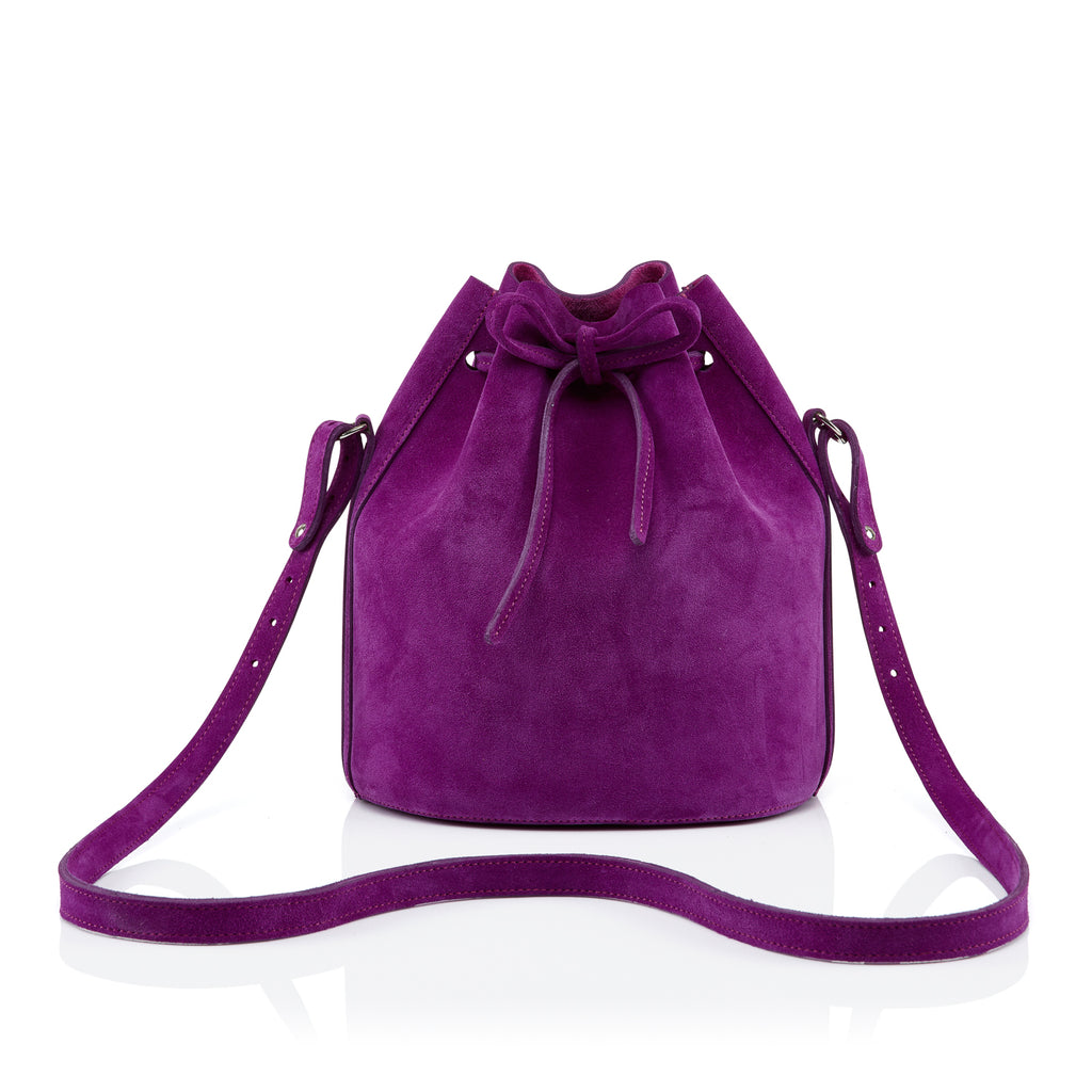 Small Drawstring in fuchsia suede