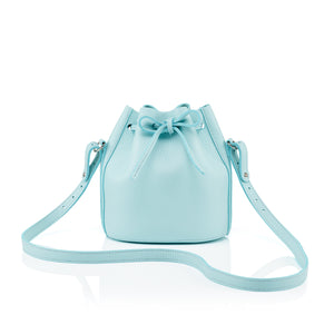 Mini Drawstring in aqua leather