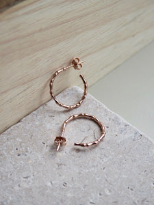 Rose gold textured mini hoops