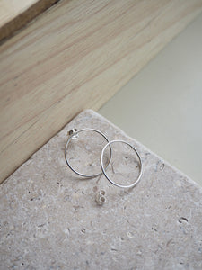 Silver large ring stud