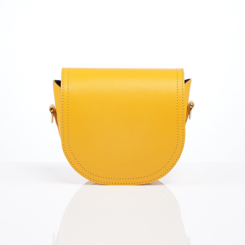 Mini Saddle Clutch in yellow leather