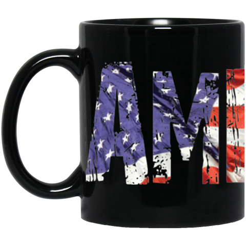 America! Jimmo Designs original Americana Mug featuring the word America in distressed American flag look. Perfect gift for patriots, Veterans, and everybody who loves America!