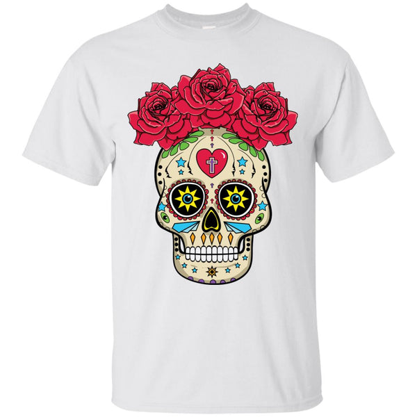 Sugar Skull With Roses - Unisex Short Sleeve T-Shirt
