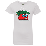 Happy Red Car And The Christmas Tree Girl's T-Shirt