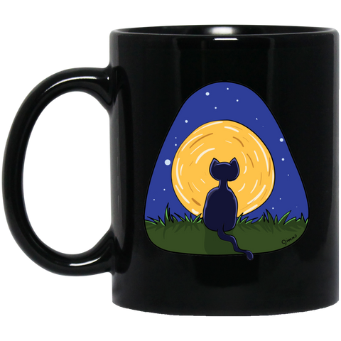 Jimmo Designs original Cat And Moon Cat Lovers Black Mug. This beautiful Mug was especially designed for cat lovers, full moon gazers and dreamers of all kinds.