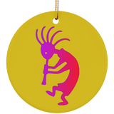 Jimmo Designs® ombre Kokopelli adorns this unique ornament. Original artwork reminiscent of the Native American rock art popular in New Mexico! If you like First Nation lore and the American Southwest, this ornament is for you! Great hostess gift or tree and festive table ornament.