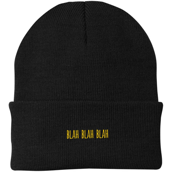 Blah Blah Blah Embroidered Knit Beanie Cap (Unisex)