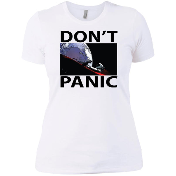 Spaceman Tesla Roadster In Space Don't Panic Ladies' T-Shirt