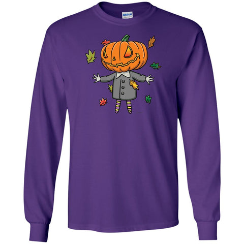 Cute Jack-O-Lantern Long Sleeve Halloween T-Shirt (Unisex)