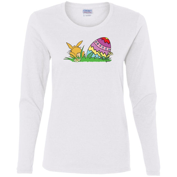 Easter Egg And Bunny Long Sleeve Ladies' T-Shirt