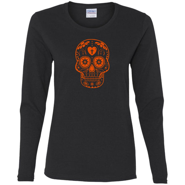Orange Sugar Skull Ladies' Long Sleeve T-Shirt