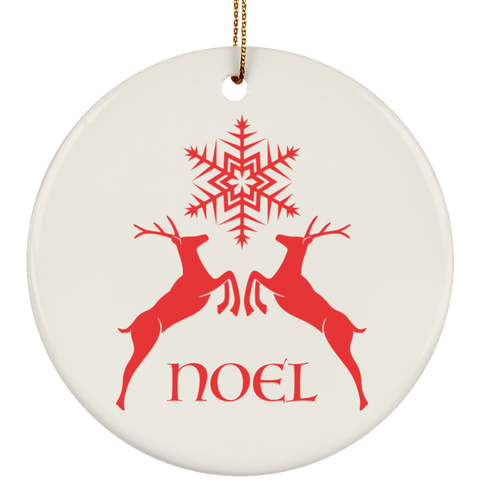 NOEL Deer and Snowflake Ceramic Ornament