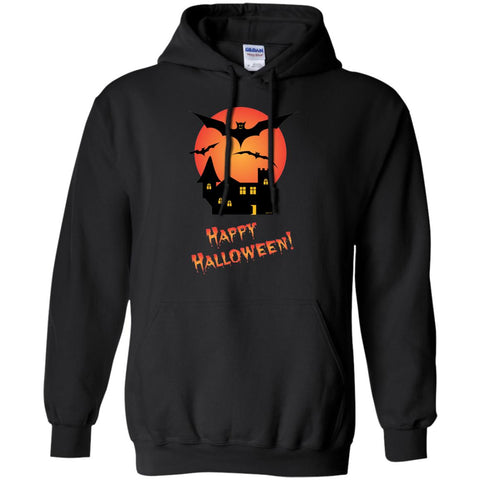 Spooky Mansion Happy Halloween Hoodie (Unisex) Original artwork by Jimmo Designs featuring creepy house, flying bats and Happy Halloween horror text.