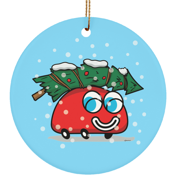 Happy Red Car And The Christmas Tree Limited Edition Ceramic Ornament