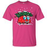 Happy Red Car And A Christmas Tree T-Shirt (Unisex)