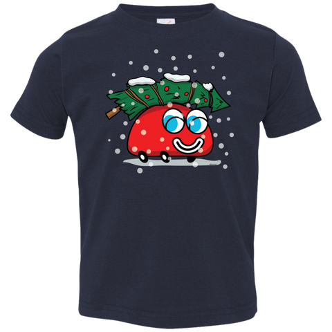 Happy Red Car And The Christmas Tree Toddler T-Shirt