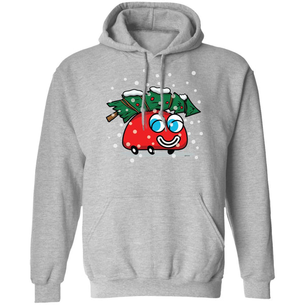 Happy Red Car And A Christmas Tree Unisex Pullover Hoodie