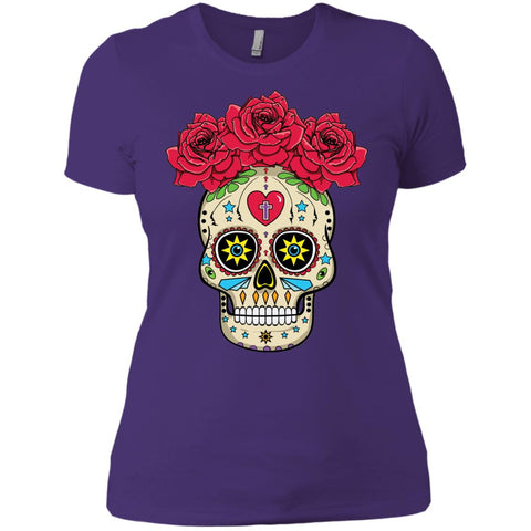 Sugar Skull With Roses Ladies' Boyfriend T-Shirt