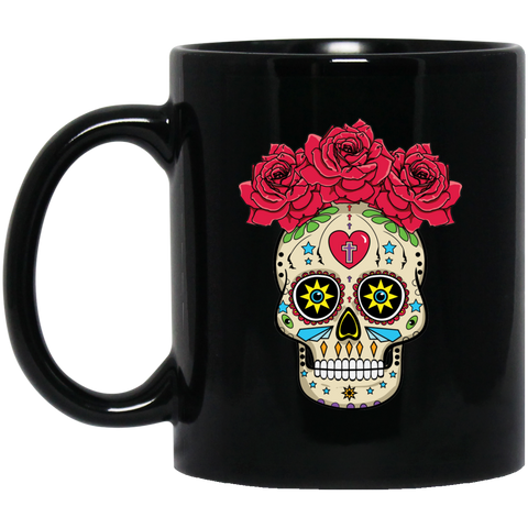 Sugar Skull With Roses Black Mug