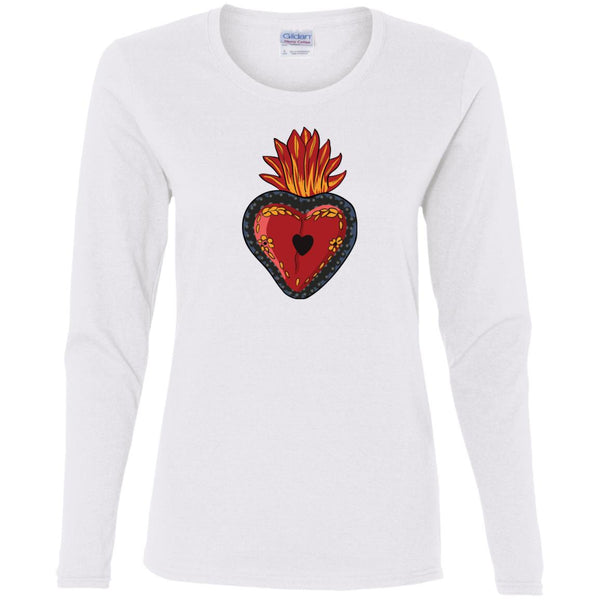 Sacred Heart Ladies' Long Sleeve Mexican Folk Art T-Shirt