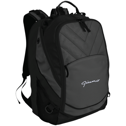 Jimmo White Signature Embroidered Laptop Computer Backpack