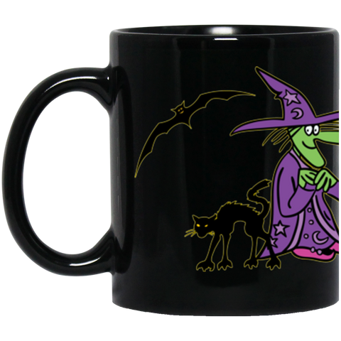 Jimmo Designs original Halloween Crew adorns this adorable mug: the Friendly Witch, Jack-O-Lantern, Toad, Black Cat and Bats. Great for your steaming potions, dark black coffee, or delicious pumpkin spiced lattes.
