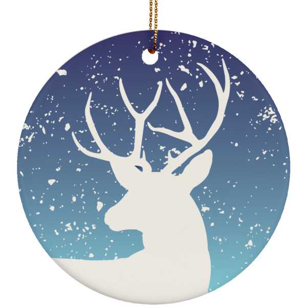 Winter Stag Ceramic Ornament