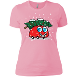 Happy Red Car And A Christmas Tree Ladies' T-Shirt