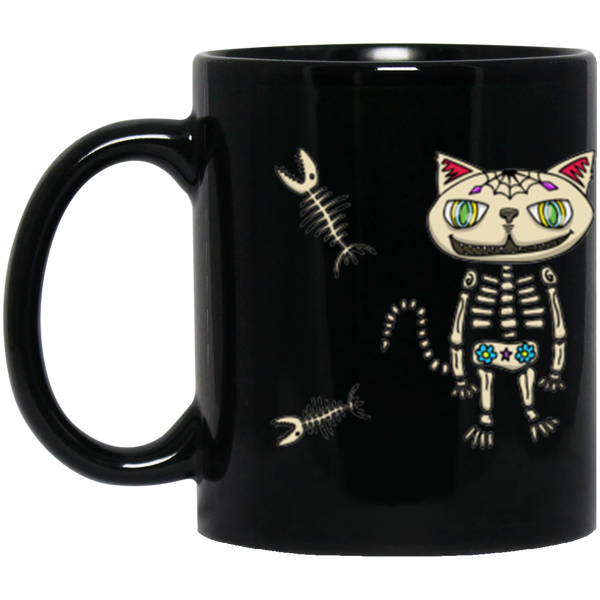 Wickedly cute Sugar Skull Cat! Jimmo Designs original artwork! Sugar Skull Cat Dia De Muertos Black Mug for cat loving lovers of Mexican Folk Art. Artist own naughty orange cat Kira was an inspiration for this cute design. Fish and all. great gift for those who lost a cat and are mourning their loss.