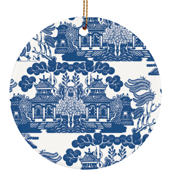 Beautiful blue willow pattern for the lovers of blue and white ceramics, Chinoiserie, and all things oriental. Great hostess gift, tree ornament, or table decoration.