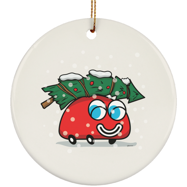 Happy Red Car And The Christmas Tree Round Ceramic Ornament