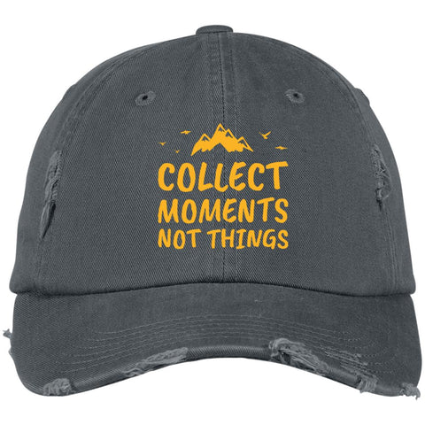 Collect Moments Not Things Distressed Embroidered Cap
