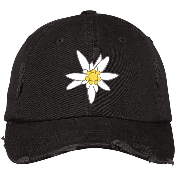 Edelweiss Flower Embroidered Oktoberfest Distressed Cap