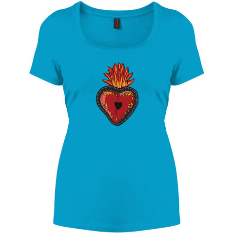 Sacred Heart Ladies' Perfect Scoop Neck Mexican Folk Art T-Shirt