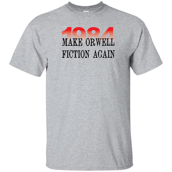 Sports Grey Unisex T-Shirt with printed text: 1984 Make Orwell Fiction Again.