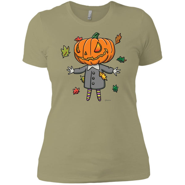 Cute Jack-O-Lantern Ladies' Short Sleeve Boyfriend Halloween T-Shirt featuring Jimmo Designs original well dressed, wickedly cute Jack! Not just for Halloween. If you like autumn, pumpkins and colorful foliage, this cute shirt is yours! Put it on and spread good vibes.