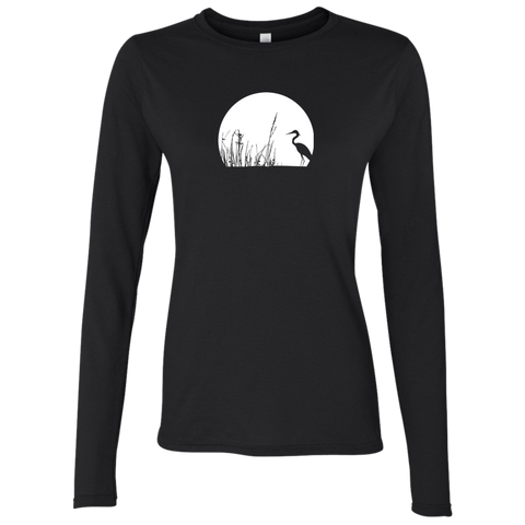 Zen Mood Heron In Reeds Women's Long Sleeve T-Shirt