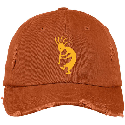 Kokopelli Distressed Embroidered Cap