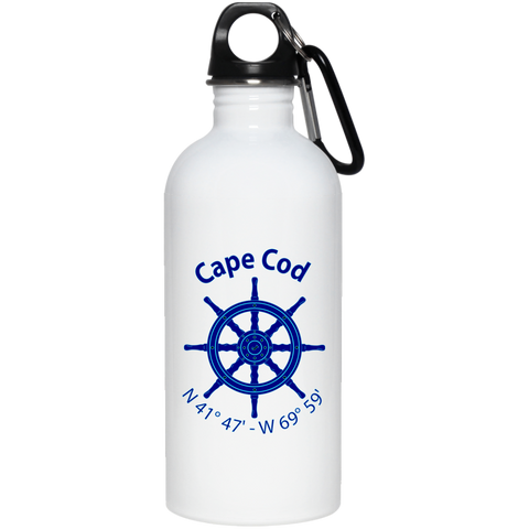 Cape Code Nautical Coordiantes Stainless Steel Water Bottle